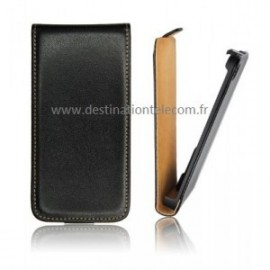 Etui Motorola E noir flip slim simili cuir
