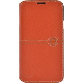 Etui Samsung Galaxy S5 G900 Façonnable folio cuir grainé orange