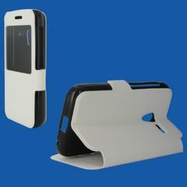 Etui Alcatel Pixi 3 (3.5) Folio stand blanc vision