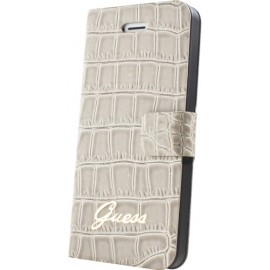 Etui Guess iPhone 5/5s Folio beige effet croco