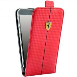 Etui Samsung Galaxy S5 G900 Ferrari rouge carbone