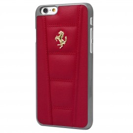 Coque iphone 6 plus / 6s plus Ferrari matelassé cuir Rouge