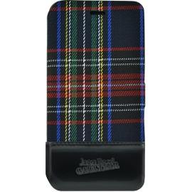 Etui iPhone 5 / 5s / SE Folio Tartan noir Jean Paul Gaultier