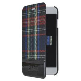 Etui iPhone 6 Plus / 6S Plus Folio Tartan noir Jean Paul Gaultier