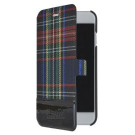 Etui iPhone 6 / 6S Folio Tartan noir Jean Paul Gaultier