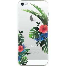 Coque iPhone 5 / 5S / SE rigide transparente fleurs tropicales