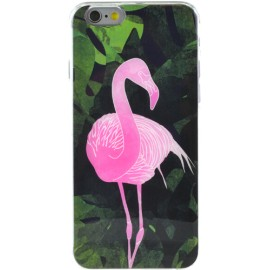 Coque iPhone 6 / 6S rigide verte flamant rose