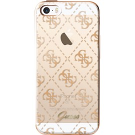 Coque iPhone 5 / 5s / SE Guess transparente et doré semi-rigide