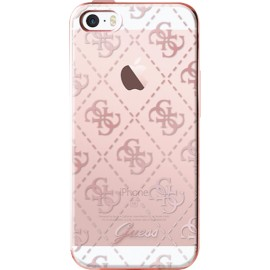 Coque iPhone 5 / 5s / SE Guess transparente et rose doré semi-rigide