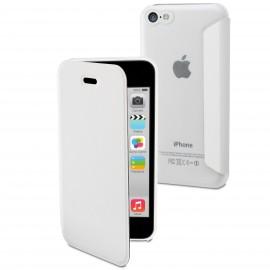 Etui iphone 5C folio Blanc Dos Translucide de Muvit