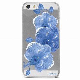 COQUE IPHONE 5 / 5S / SE CRYSTAL ORCHIDEE BLEUE