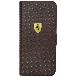 Etui iphone 5 / 5s / SE Ferrari Folio noir perforé rouge