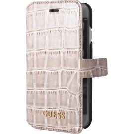 Etui iPhone 7 folio Guess croco beige