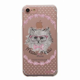 COQUE IPHONE 7 CRYSTAL CHAT NOEUD PAP