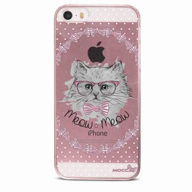 COQUE IPHONE 5 / 5S / SE CRYSTAL CHAT NOEUD PAP