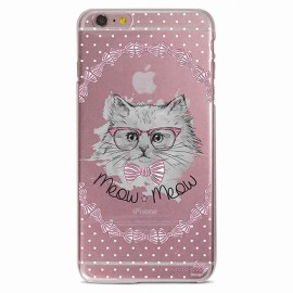 COQUE IPHONE 6 / 6s CRYSTAL CHAT NOEUD PAP