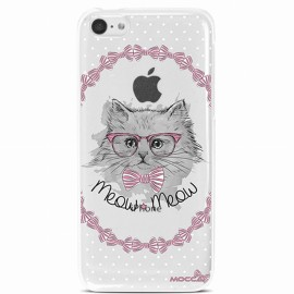 COQUE IPHONE 5C CRYSTAL CHAT NOEUD PAP