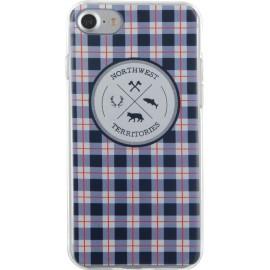 Coque iPhone 7 North West souple bleue motifs à carreaux de Bigben