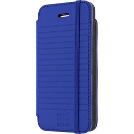 Etui iPhone 5 / 5S / SE Folio Moleskine bleu rayé