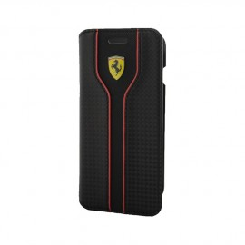Etui iphone 7 Ferrari Racing aspect carbone noir