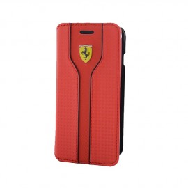 Etui iphone 7 Ferrari Racing aspect carbone rouge