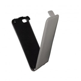 Etui iphone 5 / 5S / SE slim cuir gris