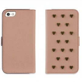 Etui iphone 5 / 5s / SE folio rose clair et Coeurs