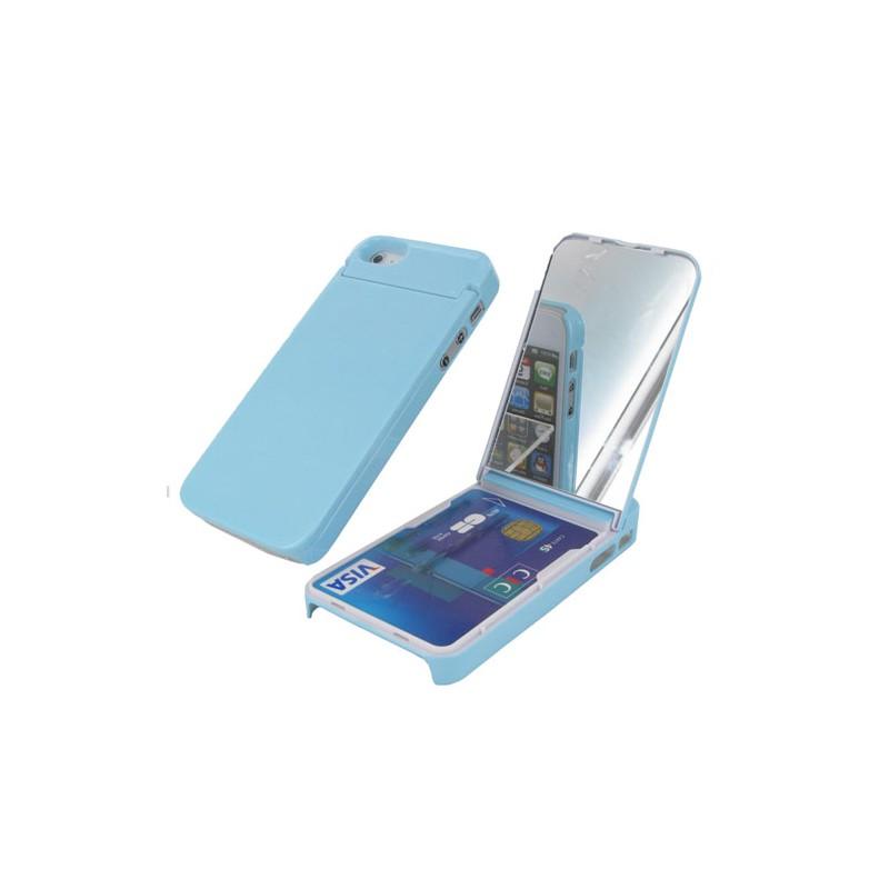 Coque iphone 5 5s se rigide bleu porte carte et miroir - Coque porte carte iphone se ...