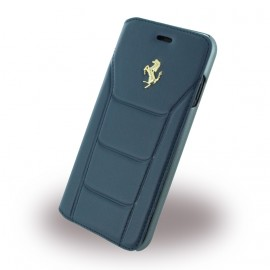 Etui iphone 7 Ferrari folio cuir bleu logo Or