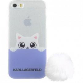 Coque iPhone 5 / 5S / SE Karl Largerfeld transparente et mauve