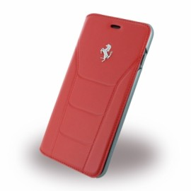 Etui iphone 7 plus Ferrari 488 folio cuir rouge logo Argent