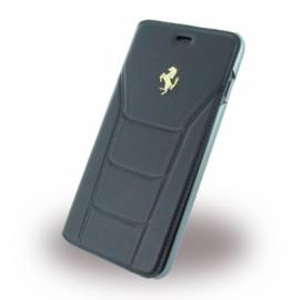 Etui iphone 7 plus Ferrari 488 folio cuir noir logo Or