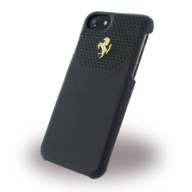 Coque iphone 7 Ferrari cuir noir logo Or