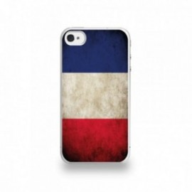 Coque  iPhone 4/4S Silicone motif Drapeau France Vintage