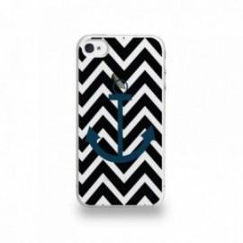 Coque  iPhone 4/4S Silicone motif Bleu Marine Sur Fond Noir