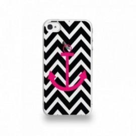 Coque  iPhone 4/4S Silicone motif Fuschia Sur Fond Noir