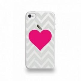 Coque  iPhone 4/4S Silicone motif Fuschia Sur Fond Gris