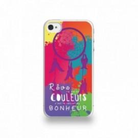 Coque  iPhone 4/4S Silicone motif Attrape Reve Sur Fond Coloré