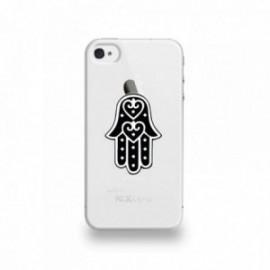 Coque  iPhone 4/4S Silicone motif Main De Fatma Noir Et Blanc