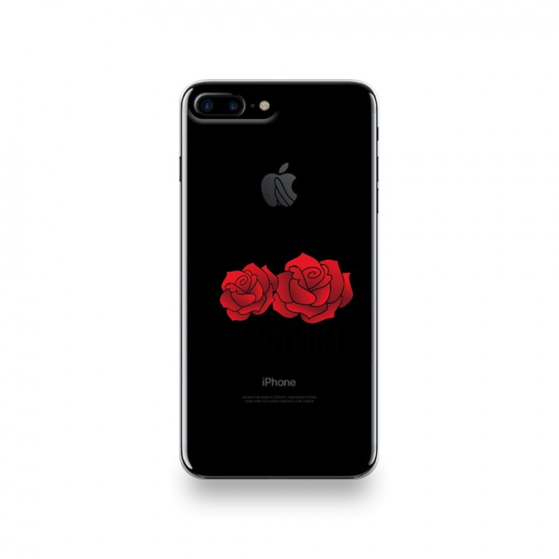 coque iphone 7 plus silicone motif carpe diem rose rouge et hirondelle destination telecom. Black Bedroom Furniture Sets. Home Design Ideas