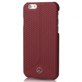 COQUE APPLE IPHONE 6/6S MERCEDES cuir perforé Rouge