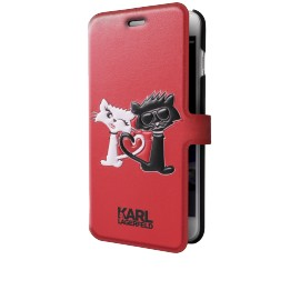 Etui iPhone 7 Karl Lagerfeld folio Choupette In Love rouge