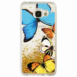 Coque Samsung A5 2016 gel papillons paillettes Or