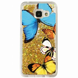Coque Samsung A3 2016 gel papillons paillettes Or