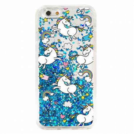 Coque iphone 6 / 6s Gel licornes paillettes bleu