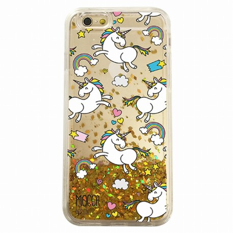 Coque iphone 6 / 6s Gel licornes paillettes Or