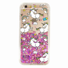 Coque iphone 6 / 6s Gel licornes paillettes rose