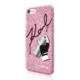 Coque iPhone 7 Karl lagerfeld Graffiti Pink Glitter