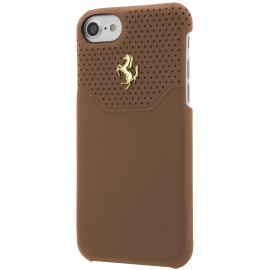 Coque iphone 7 Ferrari Lusso cuir camel