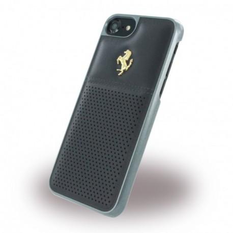 Coque iphone 7 Ferrari cuir noir logo Or